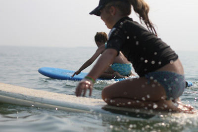 The girls loved paddling out on the boards