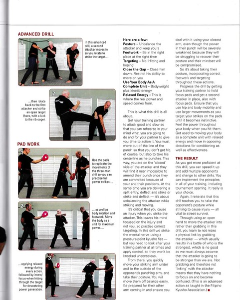 Editor of Blitz Martial Arts magazine asked me to write & photo a 'Drill It' feature for ALL martial artists to follow & learn & impliment! Thanks to Filipino Kyusho, Nigel, Patricia & Andrew & of course Paul who took the photos! (All Combat Karate students by the way...