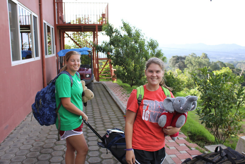 Hannah and Sarah getting gear out of van and preparing for the week.  Sarah is obviously a Republican.