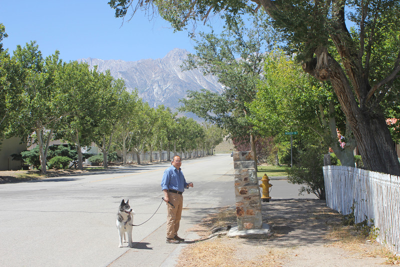 8/15/11 Gil & Hana in front of Mary Austin's Home on the corner of Webster & Main Streets. Independence, Eastern Sierras, Inyo County, CA