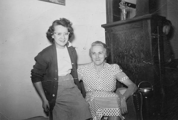 Irene Von Arx and her aunt Mary Von Arx at Joe and Vernie Von Arx's house by Hokah, Mn.