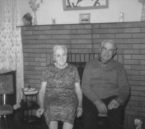 Mary Von Arx and Joseph Von Arx (twins -age 70).  - 1966 - At the house on 14th ST. of Ned and Irene Hall, in La Crosse, WI