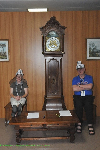 Me, a grandfather clock and my fellow judge at the Irish-Scottish beverage show-down.