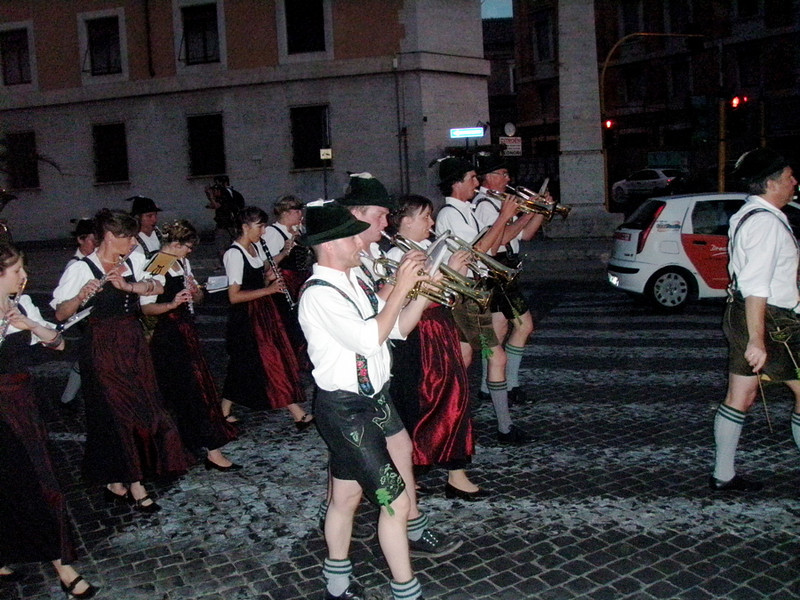 A German marching band wasn't what I expected to see when I switched buses at the Vatican, but what the heck.  The pope is German -- why not have lederhosen at the Vatican?