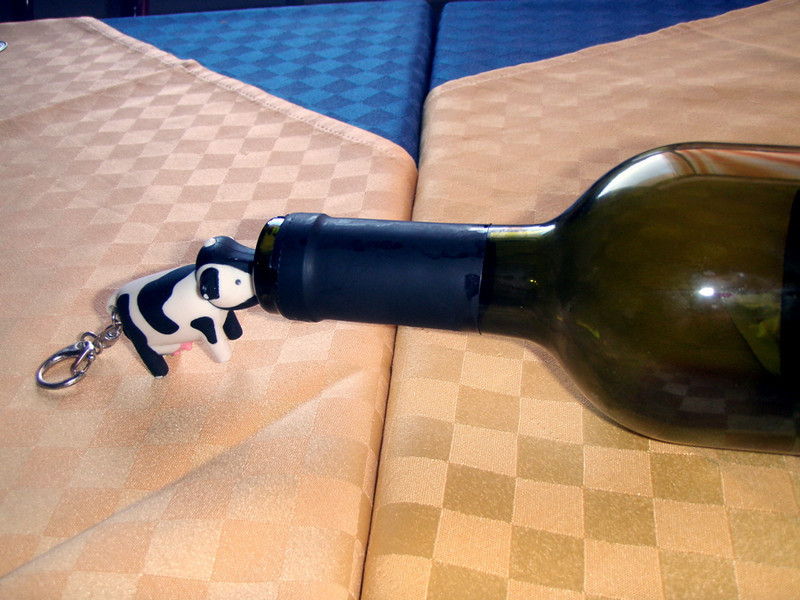 Baby cow had a big day on Saturday -- his first bus ride, first swim in the sea and then a nice red wine to top it off.