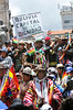 "FIg 10.30/photo of indigenous protesting to protect their land - or an image of an indigenous/industrial clash/conflict - perhaps los mapuche, or easter island indigenous protest , or something similar<br /> <br /> Choice 9 of 14<br /> <br /> Protesters in traditional dress of the Aymara Indians with banner ""Bolivia, Capital de la Dignidad"", ""Bolivia, Center of dignity"" during the re-election ceremony of President Evo Morales Ayma, second term, Plaza Murillo, La Paz, Bolivia, South America (Newscom TagID: ibpremium362061) [Photo via Newscom]"