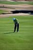 Jeff Sutton hits an approach shot at the Legends Heathland course