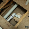 Drain reworked to new location for shower