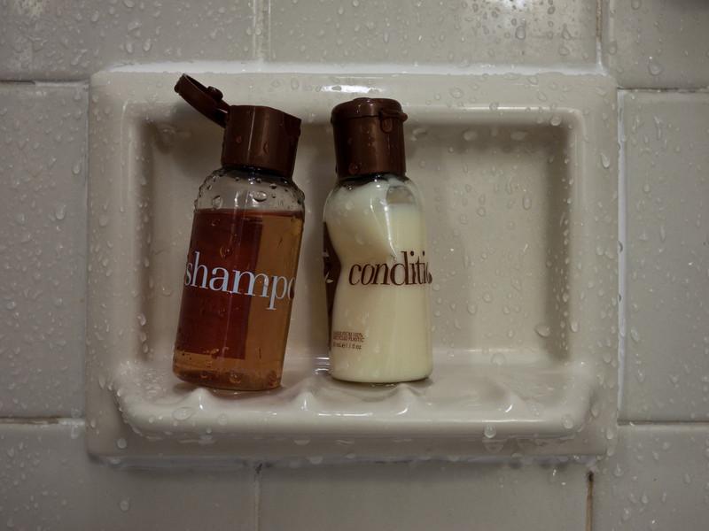 Woo, artsy shampoo and conditioner scene.