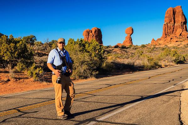 Matthew at Balanced Rock, Arches National Park
