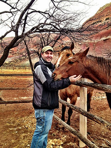 Matthew and horses, in Capitol Reef National Park