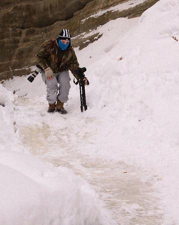 Matthew negotiating icy trail