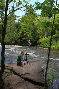 Matthew and his dad photographing at Bond Falls Upper Dells