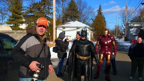 Matthew with Batman and Iron Man