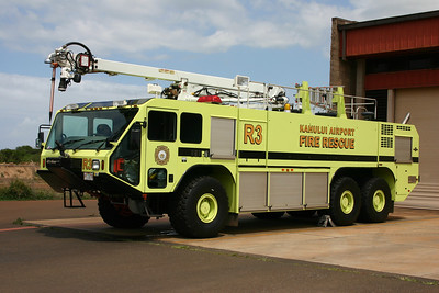 Rescue 3 from Kahului Airport is a 2004 Oshkosh Striker 3000 equipped with a 50' Snozzle, capable of piercing an aircraft body to disperse water and foam.  Equipped with a 1950/3000/420.