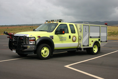 The smaller airport on Maui Island is Kapalua and it is protected by Rescue 1, a 2008 Ford F550/Pierce/Oshkosh equipped with 100 gallons of AFFF and 450 pounds of dry chem.  Based on the serial number 20425-03, there are two others serving at Hawaii airports.  I was told both are on the big Island.