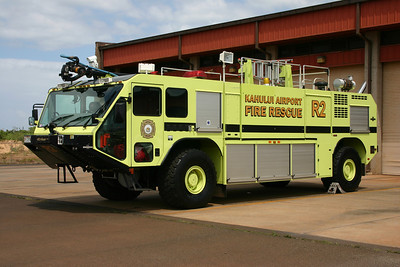 Maui's main airport is Kahului Airport and is protected by one station.  Rescue 2 is a 2007 Oshkosh Striker 1500  1950/1500/210.  It is one of two 2007 Oshkosh crash trucks - the other is Rescue 1 which was out of service during my visit.
