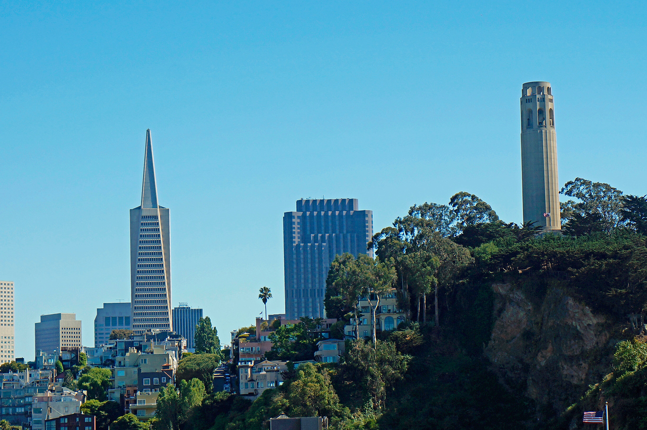 Transamerica building and Coit Tower in San Francisco