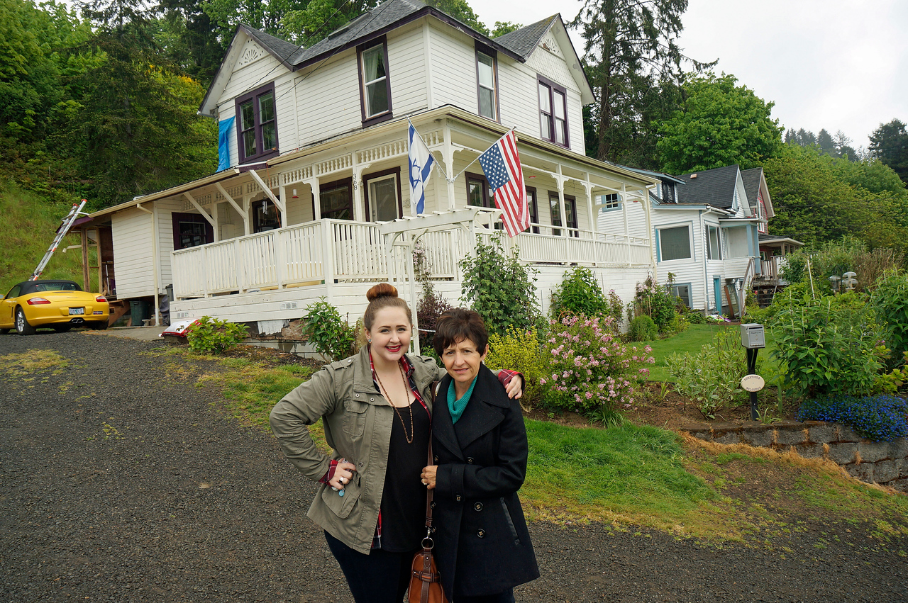 Beth and Christina by The Goonie house in Astoria, Oregon.