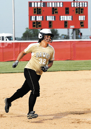 Lapel's Danielle Burnell rounds third with a smile on her face after hitting a 2 run homerun in the 2nd inning.