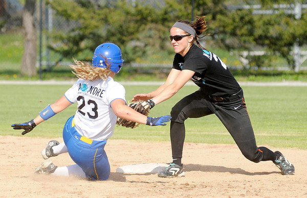 Anderson University's Samantha Steele tags Mt. St. Joseph's Megan James out at second during a double header on Tuesday.