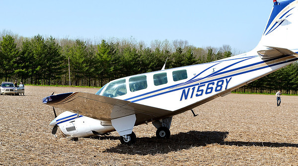 Pilot Vincent Miele, 46, Clarksburg, W. Va.,  made an emergency landing Wednesday morning in this farm field near Ingalls after losing engine power.  Miele was alone in the plane and was not hurt in the landing.