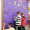Daleville Elementary School students wrote messages for Katie Kiline on three large message boards in the schools' lobby.  Katie was a 2nd grader that passed away of cancer over the weekend.