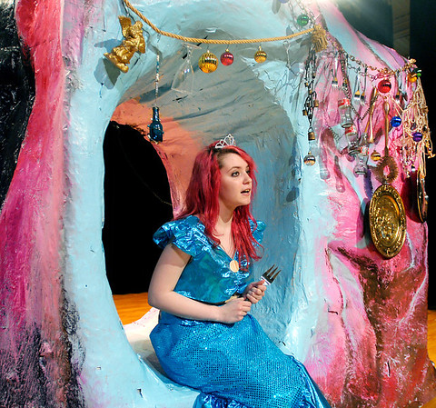 """Ariel (Kaitlyn Malone) sings """"She's In Love"""" in Ariel's Grotto in Highland Middle School's production of Disney's """"The Little Mermaid Jr."""""""