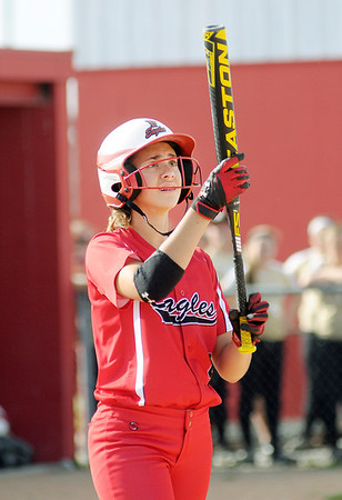 Frankton's Caitlyn Clark prepares to step in to the batters box as the Eagles faced Winchester in the second round of softball sectional action at Frankton on Tuesday.