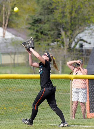 Anderson University's Katy Ogden catches foul ball as the Ravens hosted Mt. St. Joseph for a double header on Tuesday.