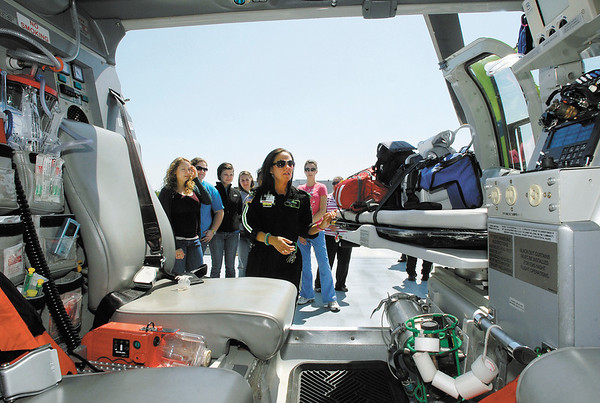 AU nursing students visit St. Vincent's StatFlight medical helicopter.<br /> StatFlight  flight nurse Shelby Wray shows AU nursing students the inside of the medical helicopter and the equipment that they use in treating patients Thursday when they made a visit to the hospital.