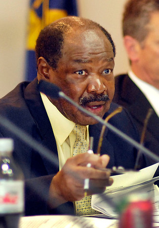 Madison County Council president John Bostic Jr. makes his point during the council meeting Monday.