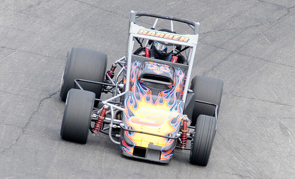 Tim Barber qualifies for the Pay Less Little 500 at the Anderson Speedway on Thursday.
