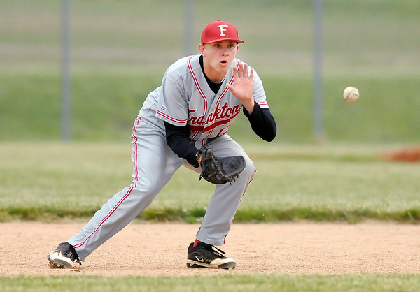 Frankton's Logan Weins fields the ball during sectional baseball action at Lapel on Thursday.