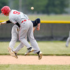 Frankton's T.J. Eads and Shenandoah's Collin Casstevens collide during sectional baseball action at Lapel on Thursday.