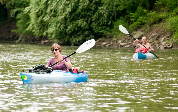 "Jean Emmerson of Fort Wayne Ind. joined a group of paddlers traveling the White River from Daleville to Anderson to protest the proposed Mounds Reservoir on Saturday. ""It was beautiful,"" Emmerson said as she described the 10 mile stretch of river the group paddled."