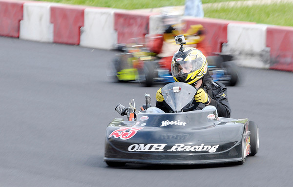 Mike Hornyak leads the LO206 feature during the 19th Annual Sertoma Club Mayor's Cup Grand Prix Go Kart Race on Saturday.