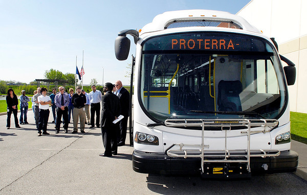 Proterra Inc. brought it's EcoRide EV bus to Anderson Wednesday and stopped at Altair Nanotechnologies to show  employees how their work on battery technology has been applied for clean commercial transportation.