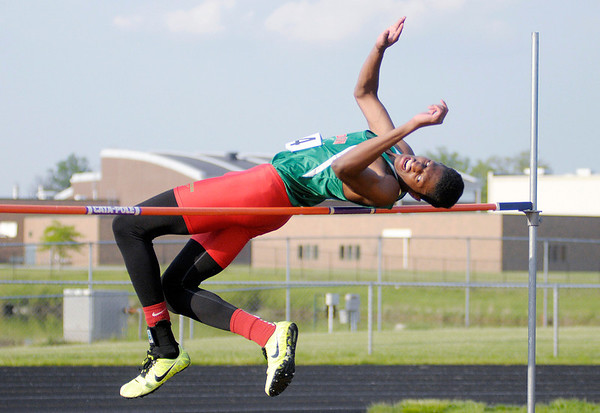 Anderson's Khalil Williams clears 5 feet 10 inches in the high jump during the boys track sectional at Mt. Vernon High School on Thursday.