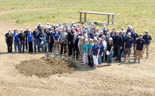 HY-PRO Filtration employees and local officials pose for a photo following a ground breaking for HY-PRO's new location in Anderson on Thursday.