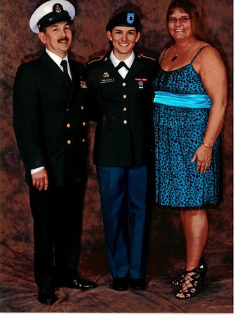 RMCS James B. Walters, PFC Kendra Walters, and Robin Walters at the Purdue University ROTC award dinner, 2013.<br /> <br /> Photographer's Name: Robin Walters<br /> Photographer's City and State: Anderson, Ind.