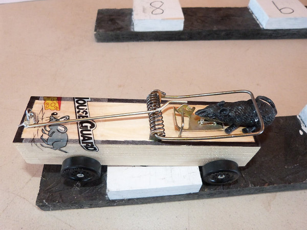 Dillon Hall's Mousetrap Pinewood Derby Car that he raced in Cub Scout Pack 398's Pinewood Derby on January 19th, 2103.  Photo was taken by Rod Fikel.<br /> <br /> Photographer's Name: Shannon Hall<br /> Photographer's City and State: Frankton, IN