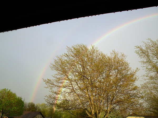 Took this April 29 from my front porch, a beautiful double rainbow.<br /> <br /> Photographer's Name: Rita Drews<br /> Photographer's City and State: Anderson, Ind.