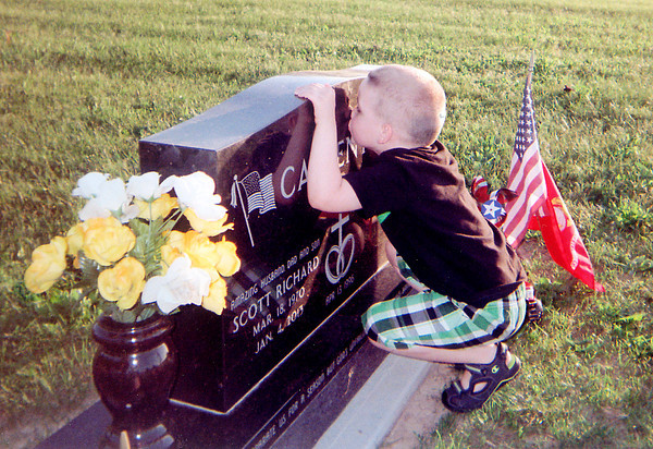 Julian McClain, 4, remembers his uncle Marine Cpl. Scott R. Carpenter. Photo submitted by Michelle Carpenter