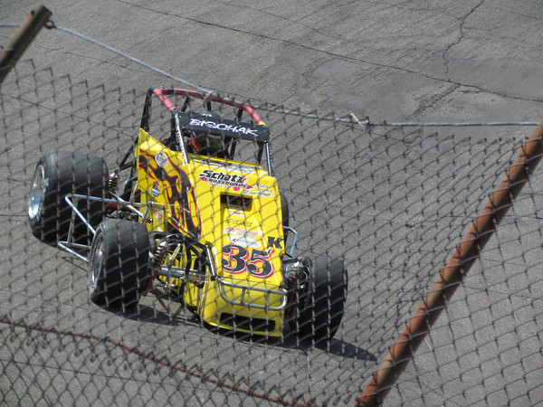 Sprint car qualifying for the Glen Niebel Classic at the Anderson Speedway.<br /> <br /> Photographer's Name: Brian Fox<br /> Photographer's City and State: Anderson, Ind.