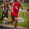 Franklin Nunn running the 200-meter dash for Liberty Christian at Daleville.<br /> <br /> Photographer's Name: Terry Lynn Ayers<br /> Photographer's City and State: Anderson, Ind.