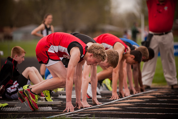 Dawson Ayers on the starting line for high hurdles at the Dalevile track and field meet.<br /> <br /> Photographer's Name: Terry Lynn Ayers<br /> Photographer's City and State: Anderson, Ind.
