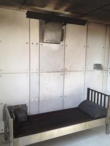 Training facility burn room simulates bedroom fire.