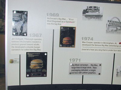 In full display at the center of the huge McDonald's Restaurant is devoted to the history of the McDonald's Big Mac and it's western PA inventor Jim Deligatti.