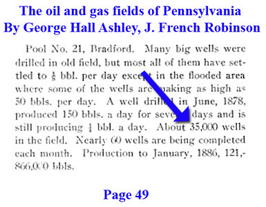 """ About 35,000 wells in the field"" Page 49 <a href=""http://books.google.com/books?id=Q63kAAAAMAAJ&ots=HKky3KZw1a&dq=Bradford%20oil%20and%20gas&pg=PA49#v=onepage&q=Bradford%20&f=false"">http://books.google.com/books?id=Q63kAAAAMAAJ&ots=HKky3KZw1a&dq=Bradford%20oil%20and%20gas&pg=PA49#v=onepage&q=Bradford%20&f=false</a><br /> <br /> Dept. of Internal Affairs, Bureau of Topographic and Geological Survey, 1922"